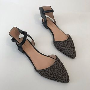 Sole Society Calf Hair Gray Leopard Prints Flats